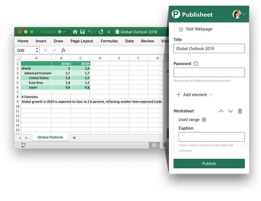 Pubilsheet Excel Add-in